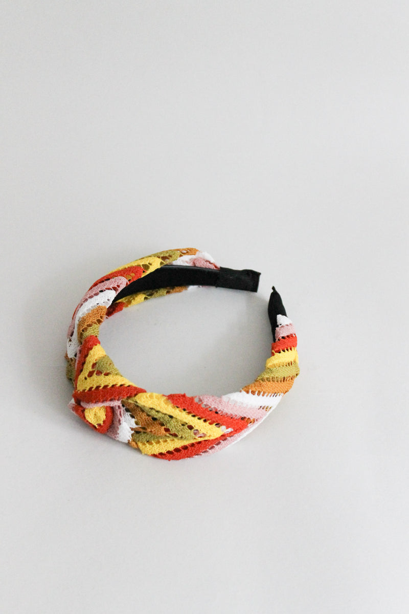 Knitted Multicolor Brown Orange Headband