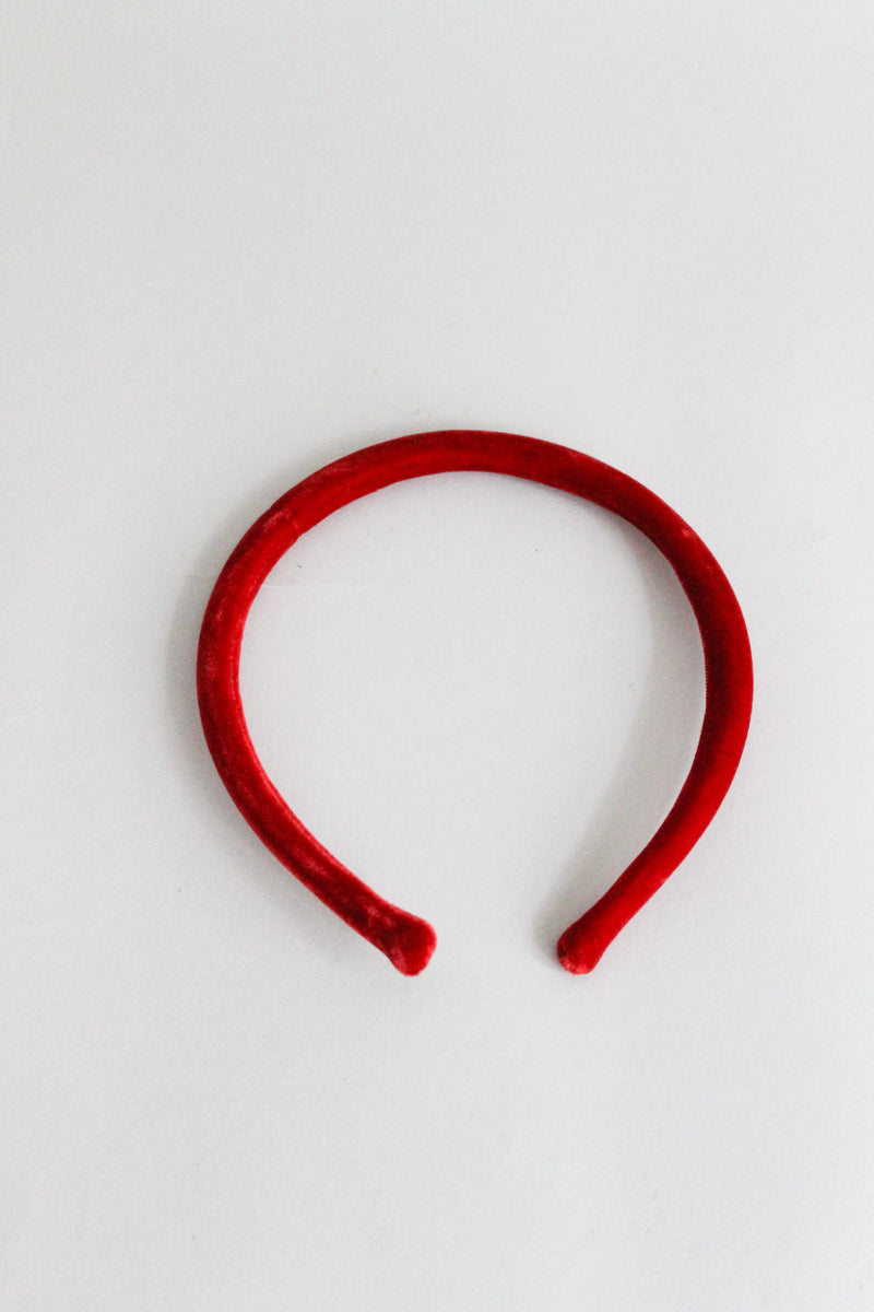 Thin Velvet Red Headband