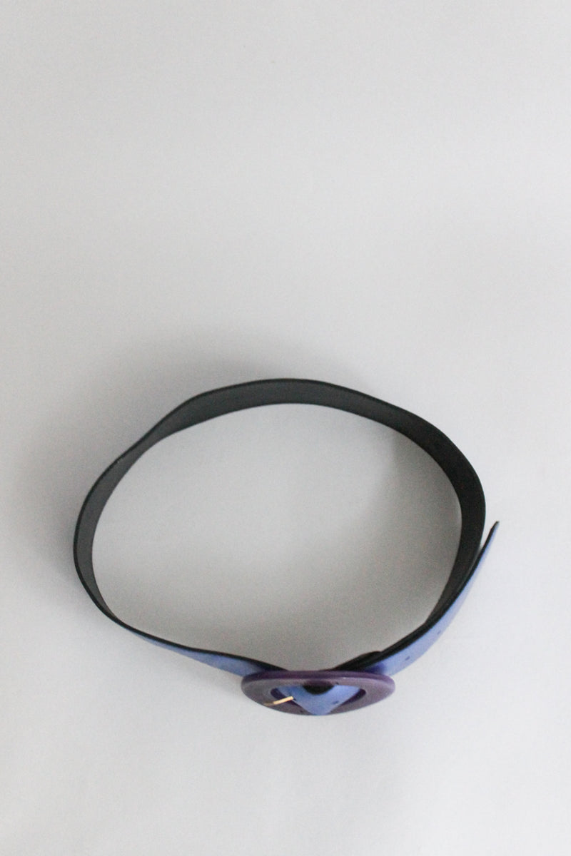 Krizia Metallic Blue Purple Leather Belt