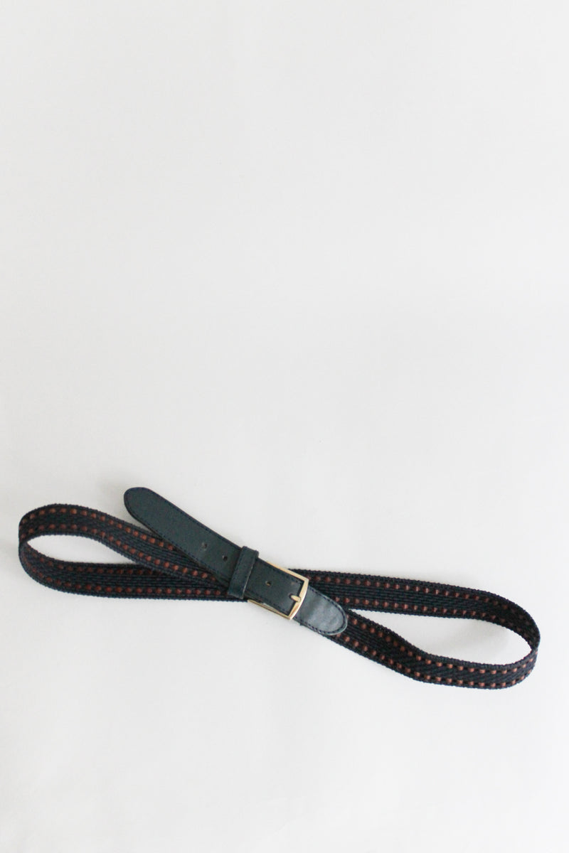 Blue Brown Braided Leather Belt