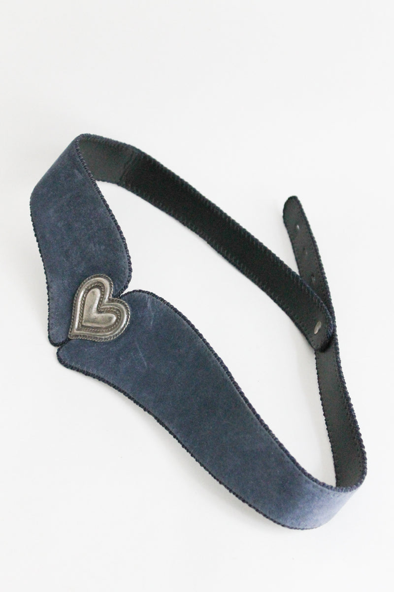Blue Suede Leather Waist Belt