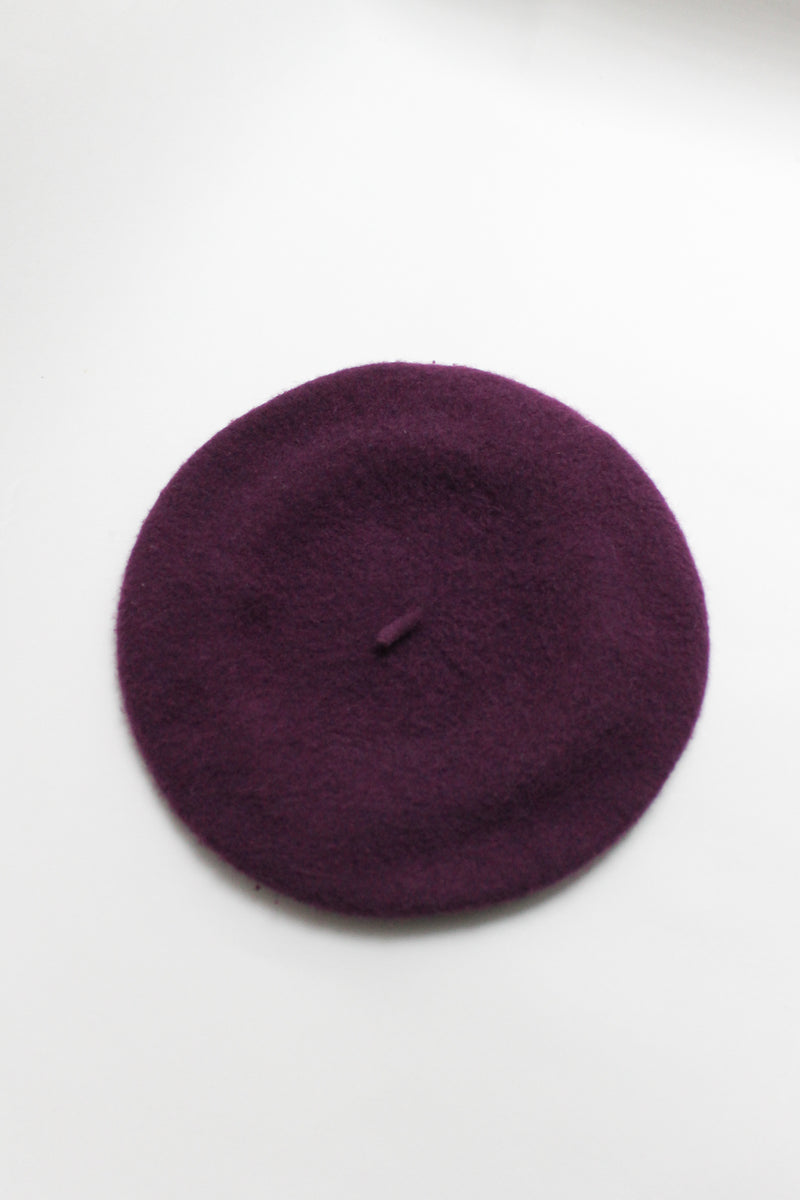 Vintage Purple Wool Beret
