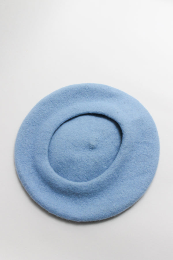 Vintage Light Blue Wool Beret