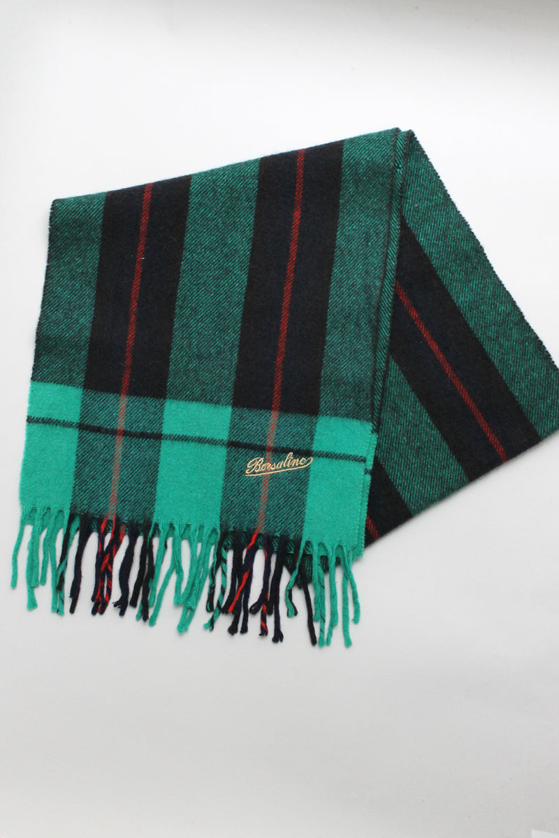 Borsalino Green Checked Wool Scarf