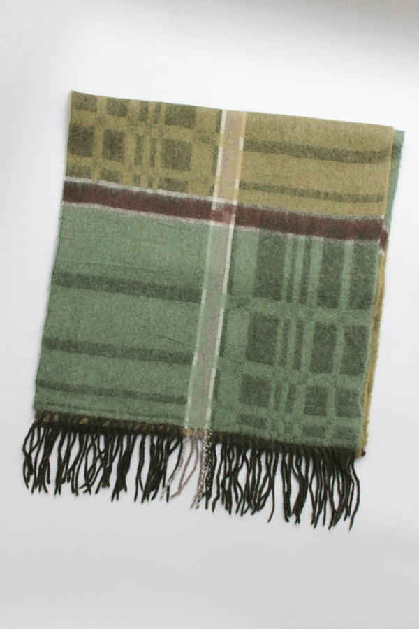 Green Checked Wool Scarf