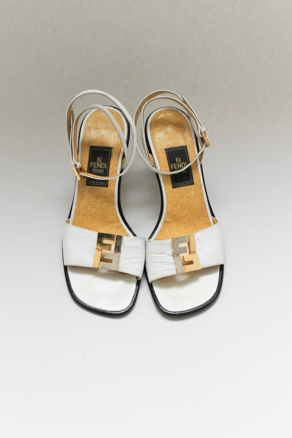 Vintage White Fendi Gold Sandals
