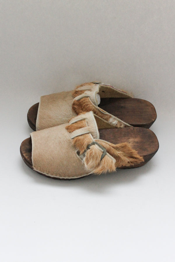 Pony Hair Open Toe Clogs