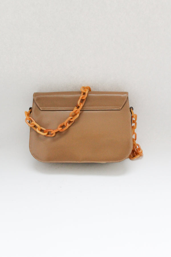 Camel Leather Bag Resin Handles