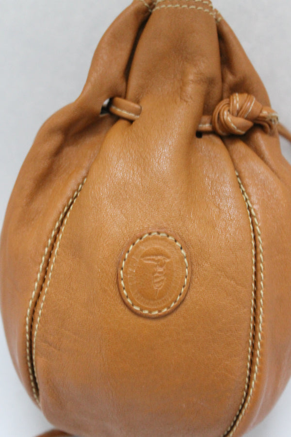 Brown Small Leather Pouch Rucksack