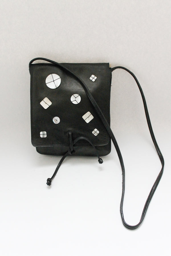 Black Leather Bag Shell Embellishment