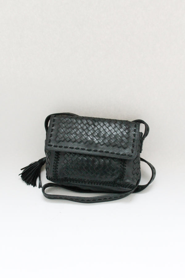 Black Braided Small Leather Bag