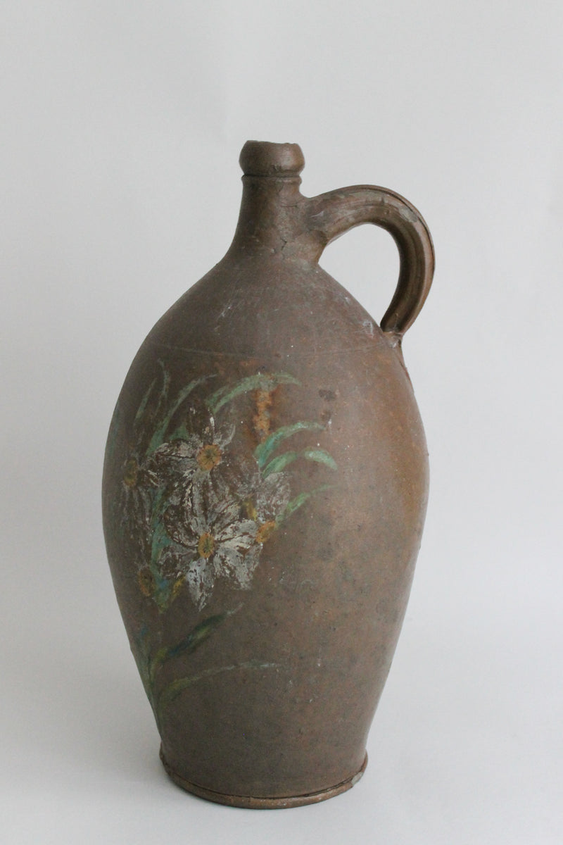 Vintage Brown Flower Jug