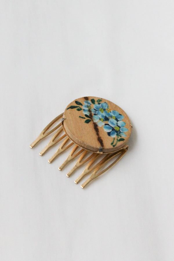 Wood Flower Hair Comb Slide