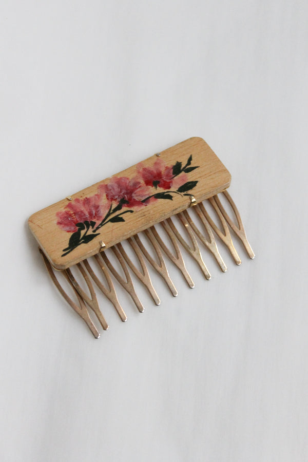 Wood Pink Flower Hair Comb Slide