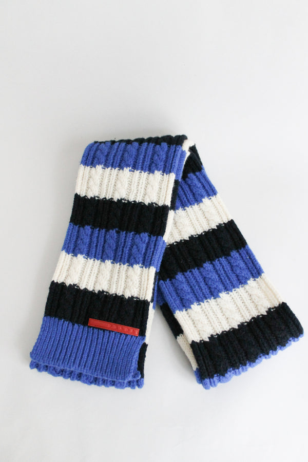 Prada Wool Knitted Long Striped Scarf