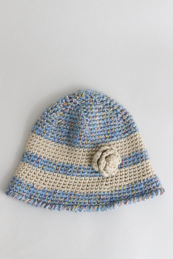 Blue White Crochet Wool Hat