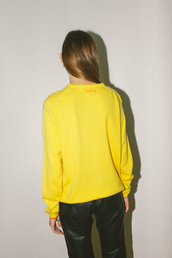 Bold yellow cashmere jumper