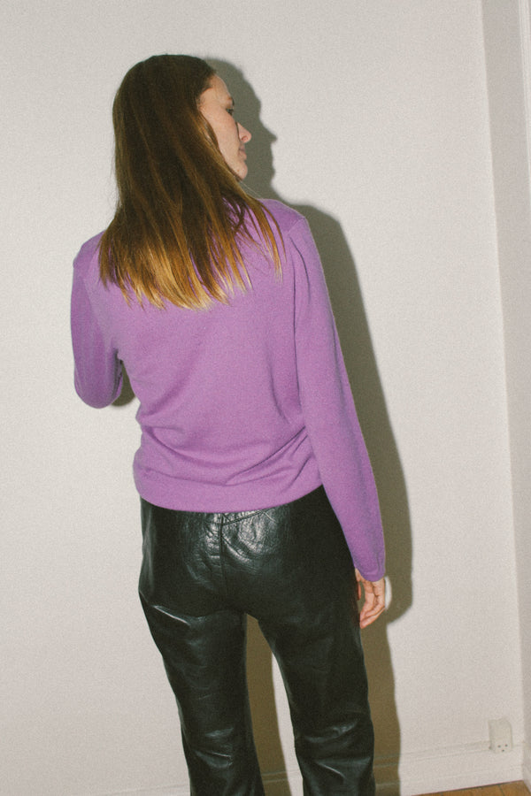 Bright purple cashmere v neck knit