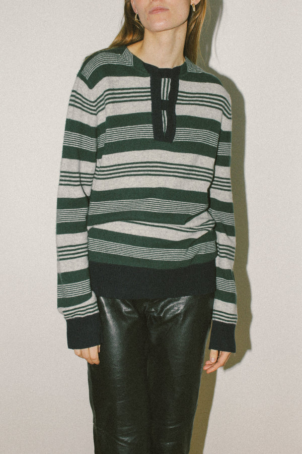 Knitted henley style top with stripes