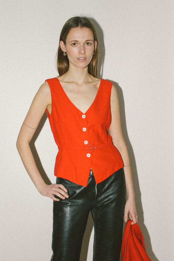 Sportmax red wool suit vest