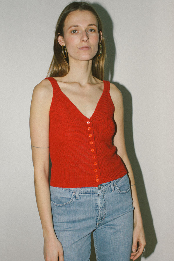 Red knitted vest top