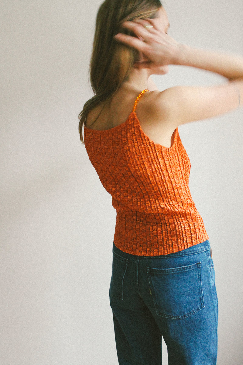Orange crinkle pleated top