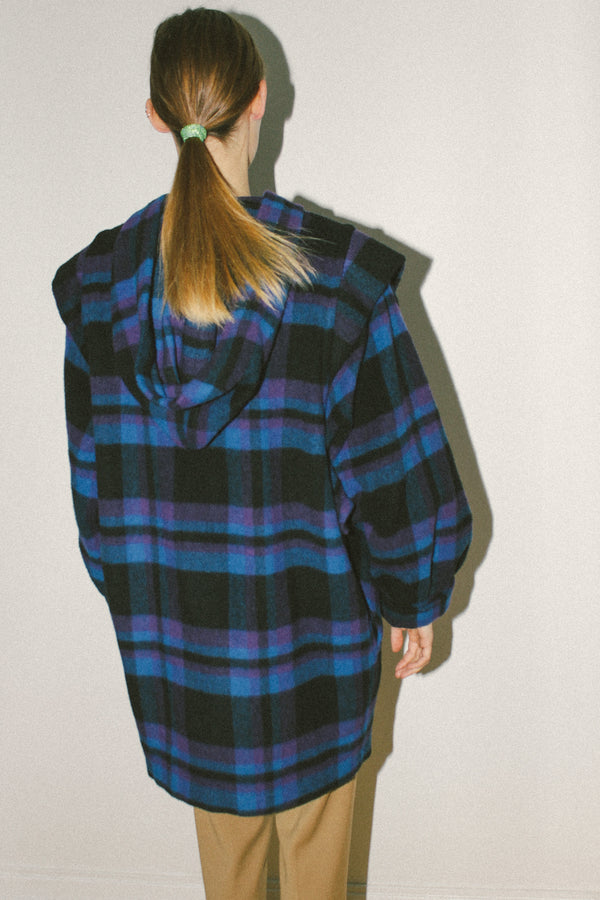 Colourful check wool coat