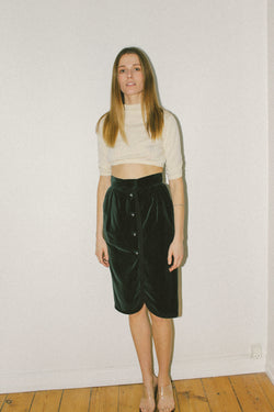 Saint Laurent green velvet skirt