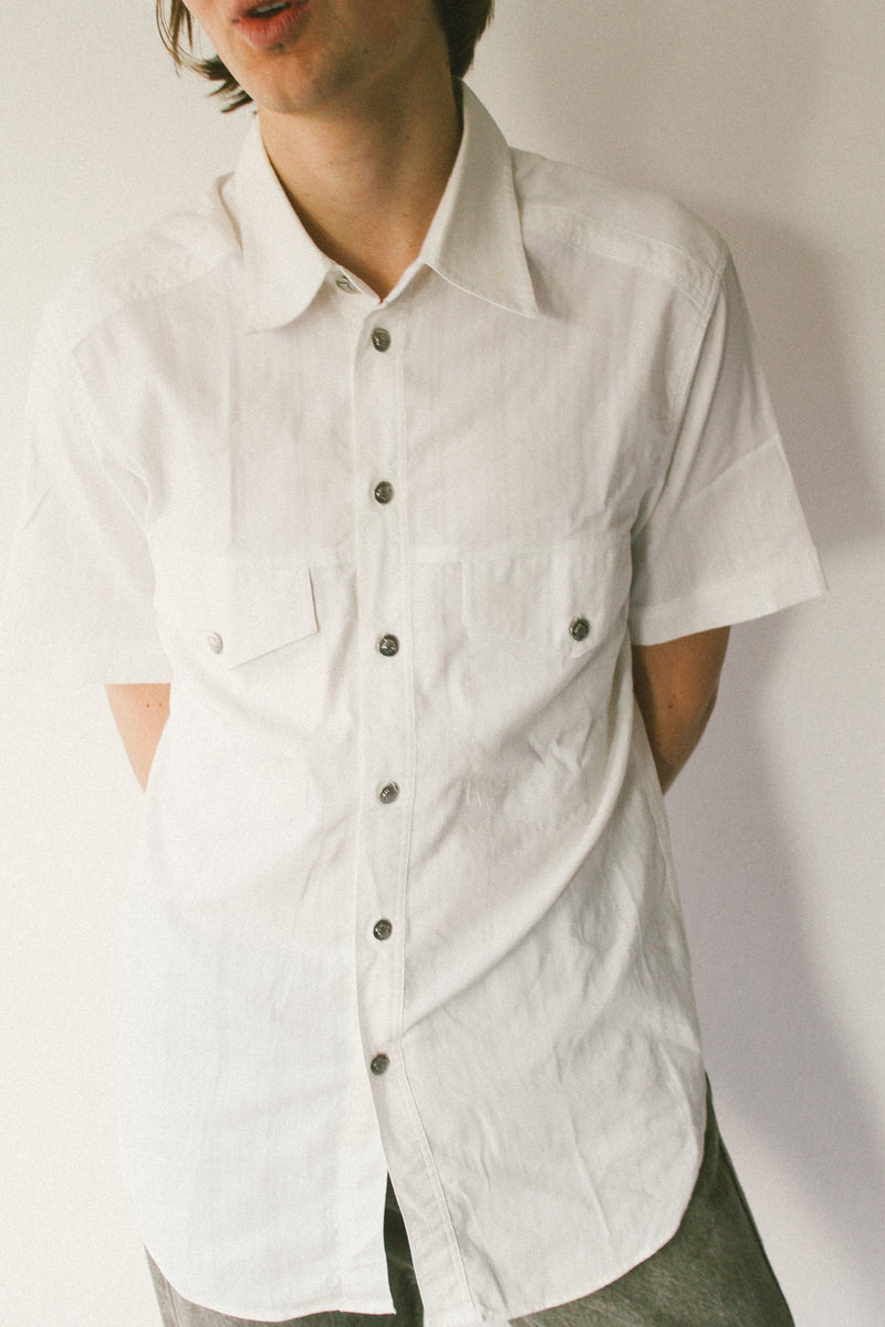 Versace jeans couture short sleeved white shirt