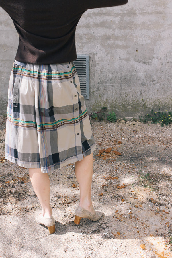 Wide leg checked shorts by Les Copains