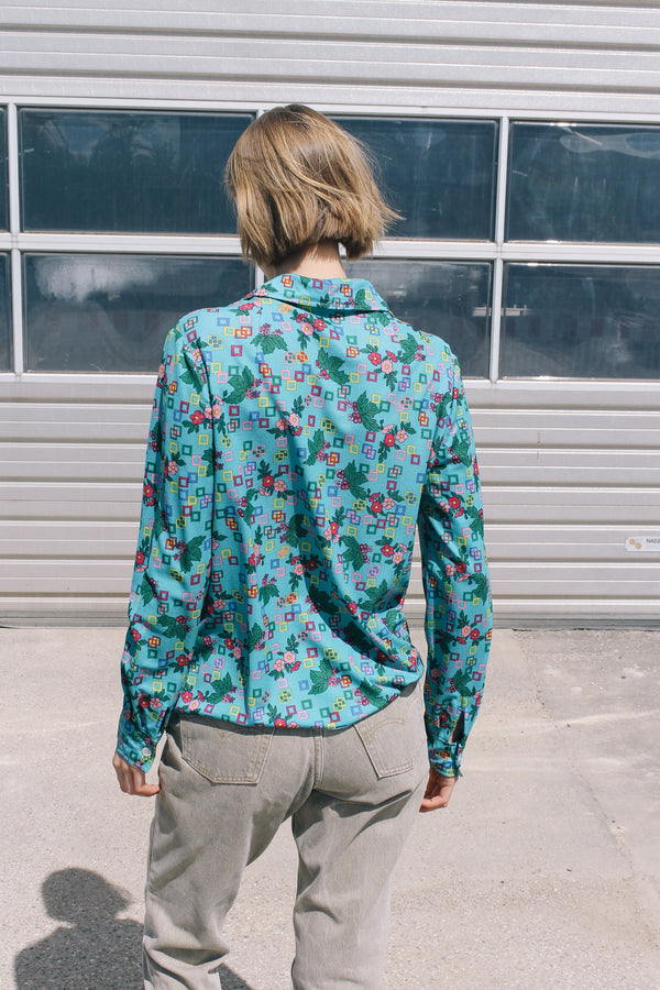 Turquoise floral printed long sleeve shirt
