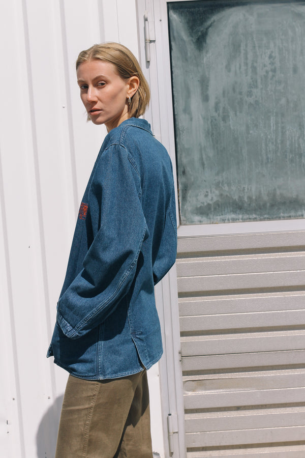 Denim blazer with embroidered pockets by Laura Biagiotti