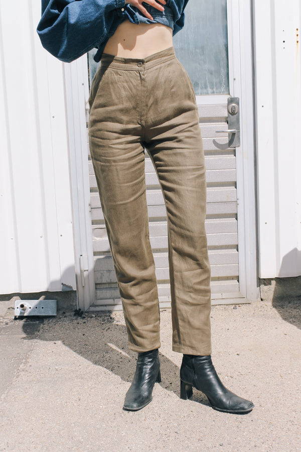 Elegant Max Mara brown linen trousers