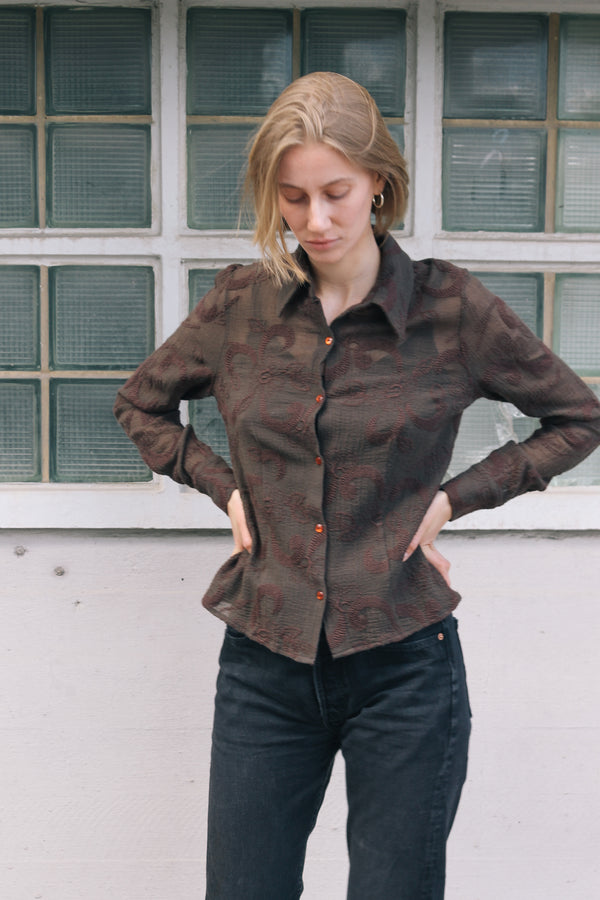 Brown Embroidered Wool Shirt
