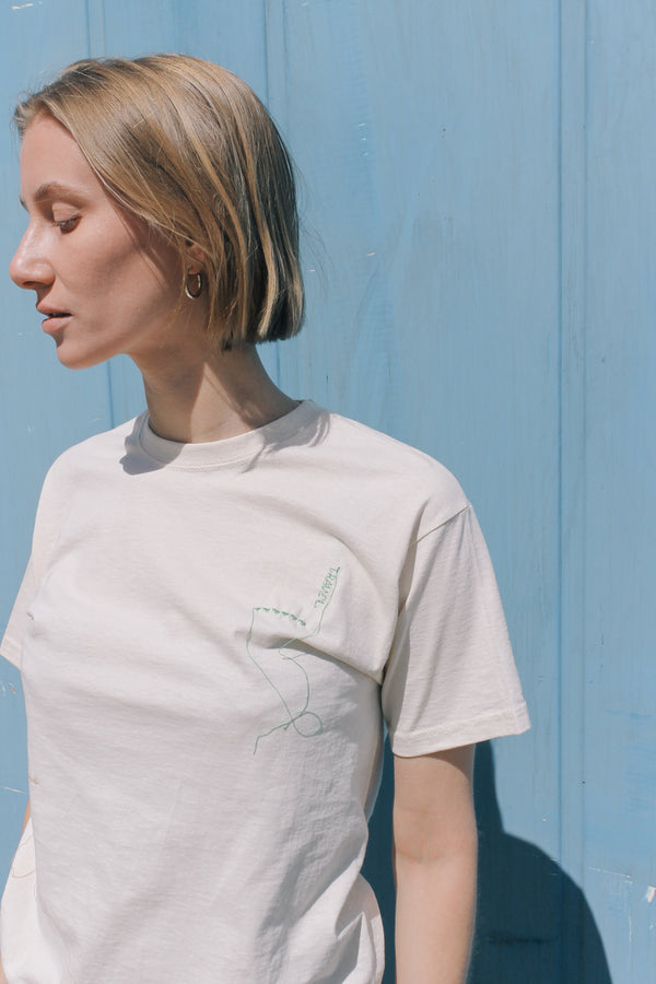 Embroidered Studio Travel T-shirt in cream