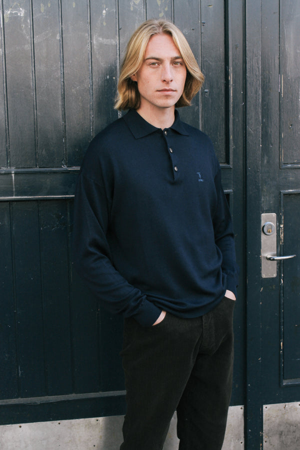 Navy Knitted Polo