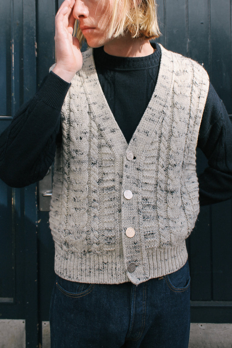 Grey Melange Wool Cable Vest