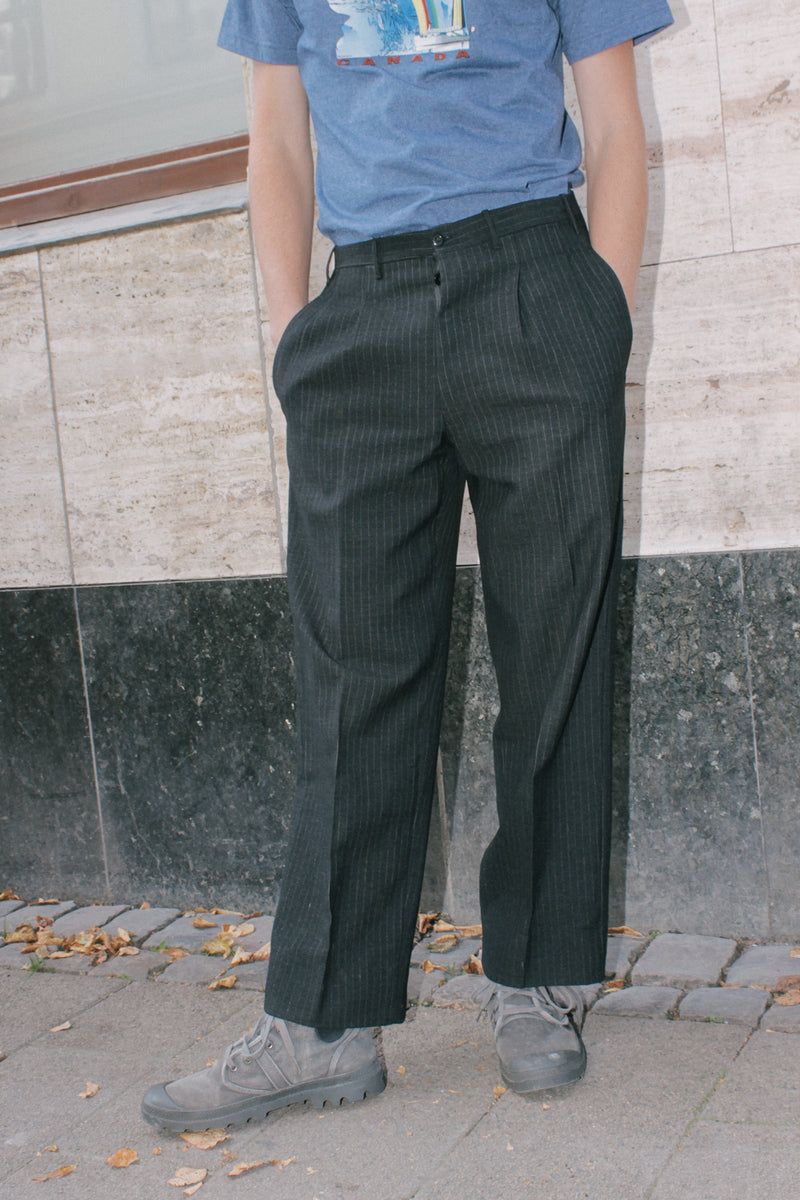 Striped Grey Tailored Wool Trousers