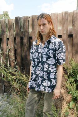 Hawaiian shirt with navy and white pattern