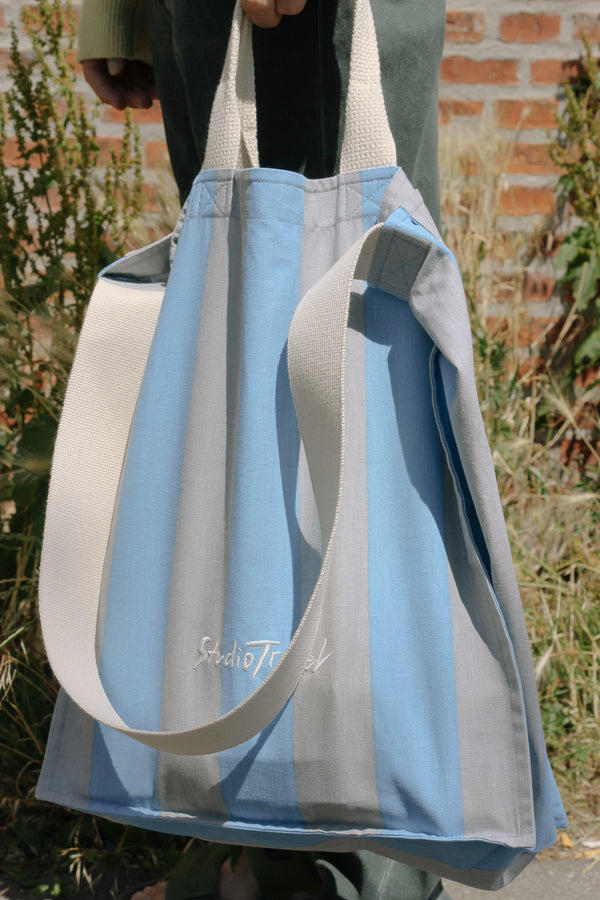 Blue and grey wide striped cotton bag