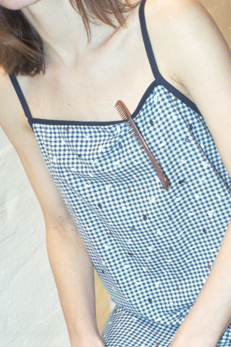 Checked Alphabet Strap Dress