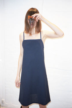 Navy Embroidery Dotted Strap Dress