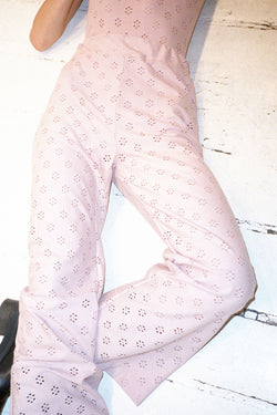 Flower Net Dusty Pink Wide Leg Pants