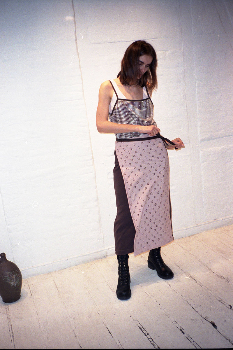 Recycled Brown Fleece Flower Net Wrap Skirt