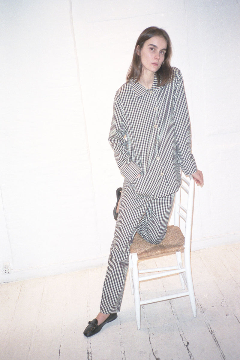 Checked Unisex Black Offwhite Pyjamas Pants