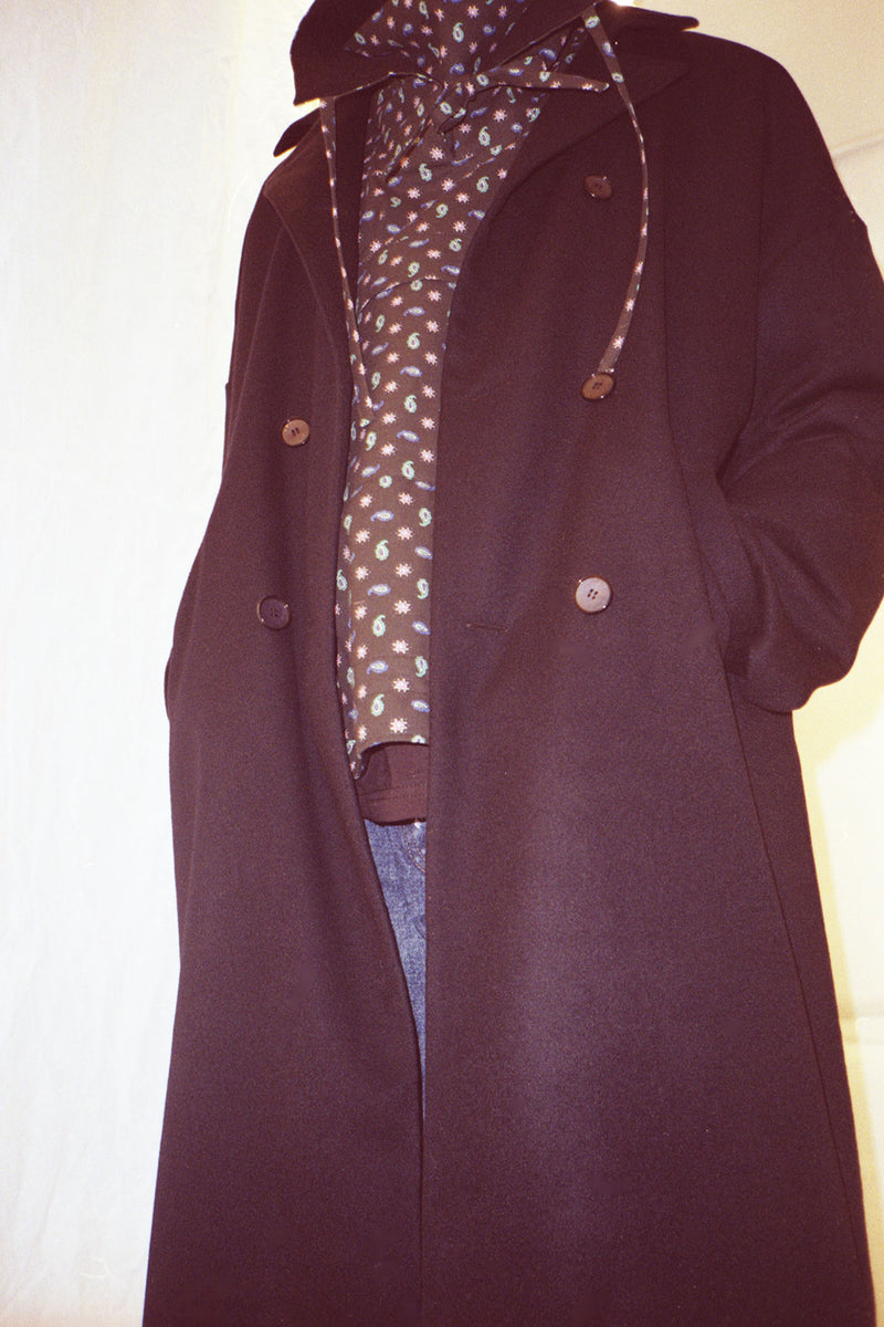Unisex Navy Wool Cashmere Double Breasted Coat