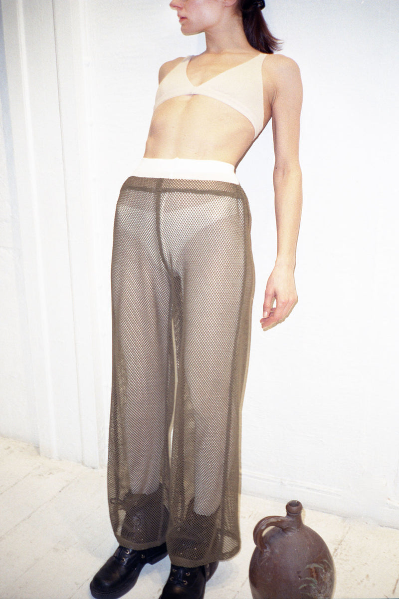 Army Green Net Wide Leg Pants