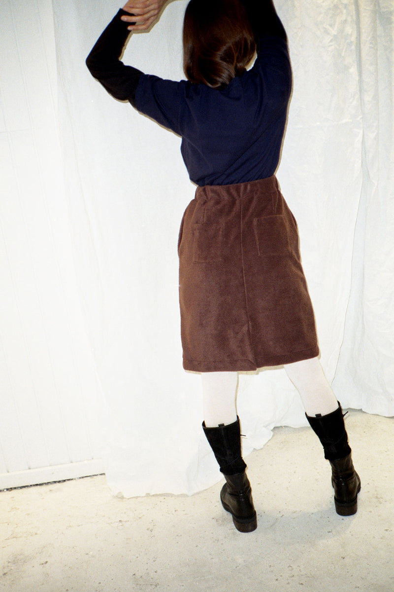 Recycled Brown Fleece Skirt