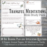 Thankful Meditations Women's Bible Study, Instant Download