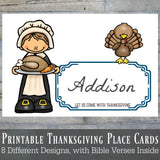 Printable Thanksgiving Place Cards, Colorful Pilgrims and Native Americans Set, Instant Download